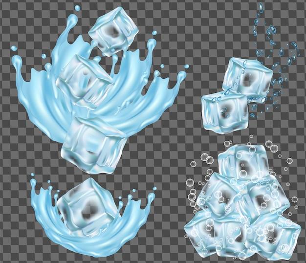 Cubetto di ghiaccio isolato e acqua che spruzza illustrazione vettoriale Vettore Premium
