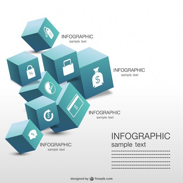 Cubi tridimensionali infografica Vettore gratuito