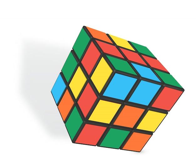 Cubo realistico di rubik Vettore Premium