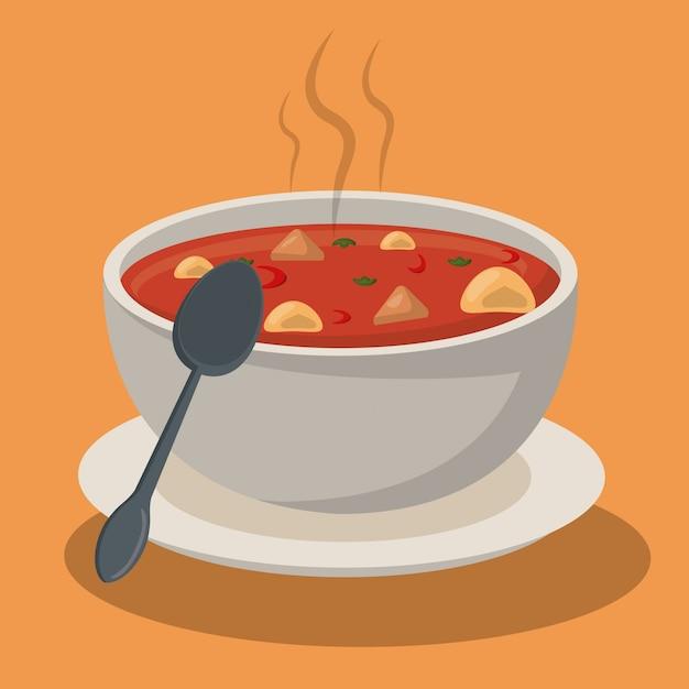 Cucchiaio di minestra caldo delle verdure della ciotola della pasta Vettore Premium