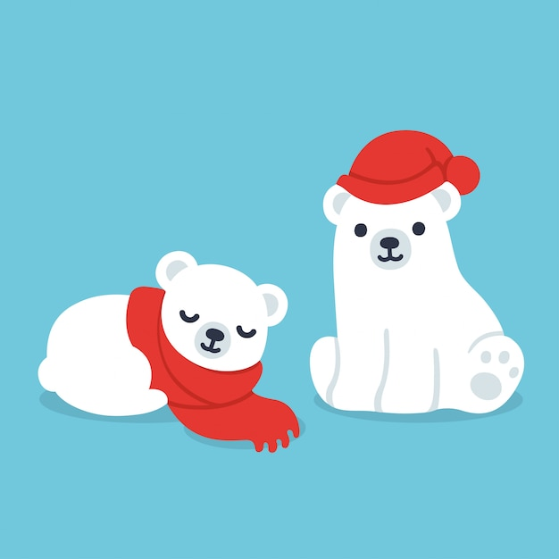 Cuccioli di orso polare Vettore Premium