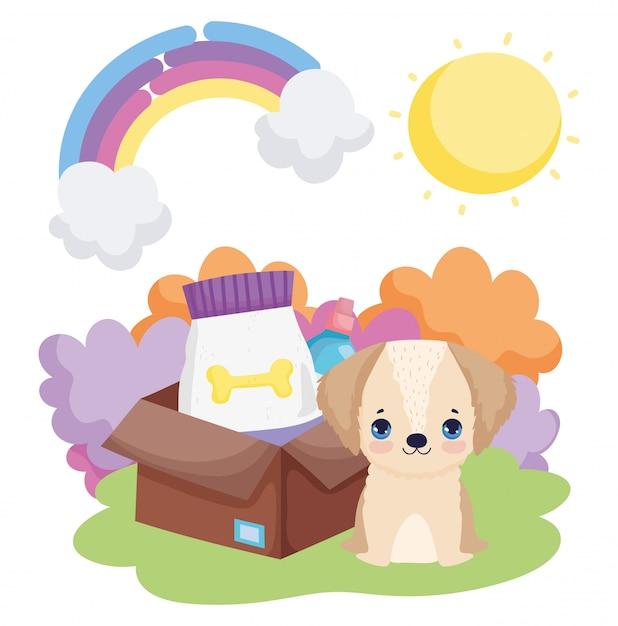 Cucciolo di cane con animali domestici del paesaggio dell'alimento della scatola Vettore Premium