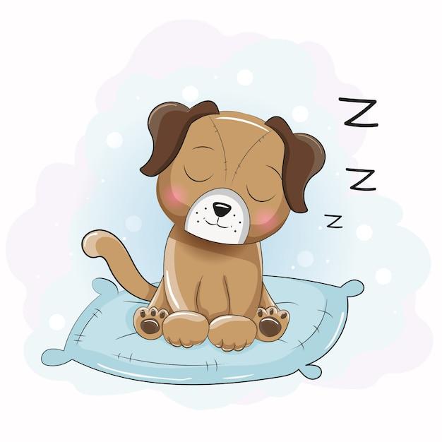 Cucciolo di sonno simpatico cartone animato sul cuscino Vettore Premium