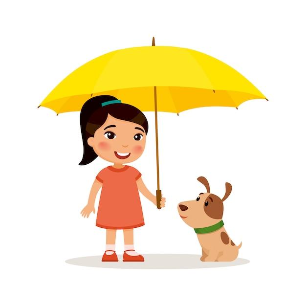 Cucciolo e piccola ragazza asiatica sveglia con l'ombrello giallo. felice scuola o bambino in età prescolare e il suo animale domestico che giocano insieme. personaggio dei cartoni animati divertente. illustrazione. isolato su sfondo bianco Vettore gratuito