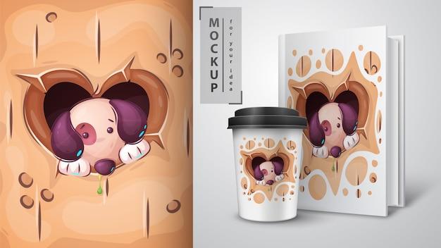 Cucciolo nel buco del cuore - poster e merchandising. Vettore gratuito