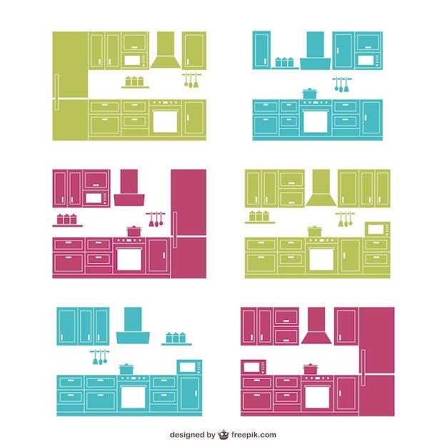 Cucina di design sagome di raccolta scaricare vettori gratis for Design di architettura domestica gratuito