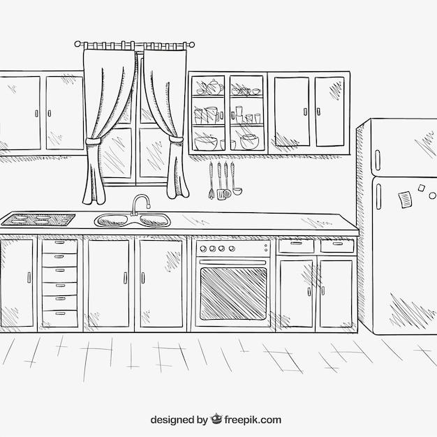 Cucina disegnata a mano scaricare vettori gratis - Disegnare cucina 3d gratis ...