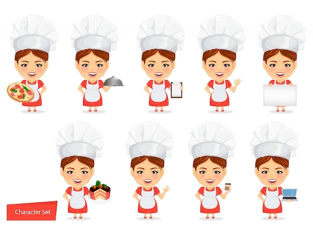 Cucina donna chef divertente con grande testa Vettore Premium