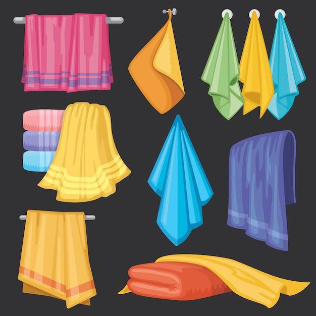 Cucina e bagno appeso e pieghevole asciugamani isolato set vettoriale Vettore Premium