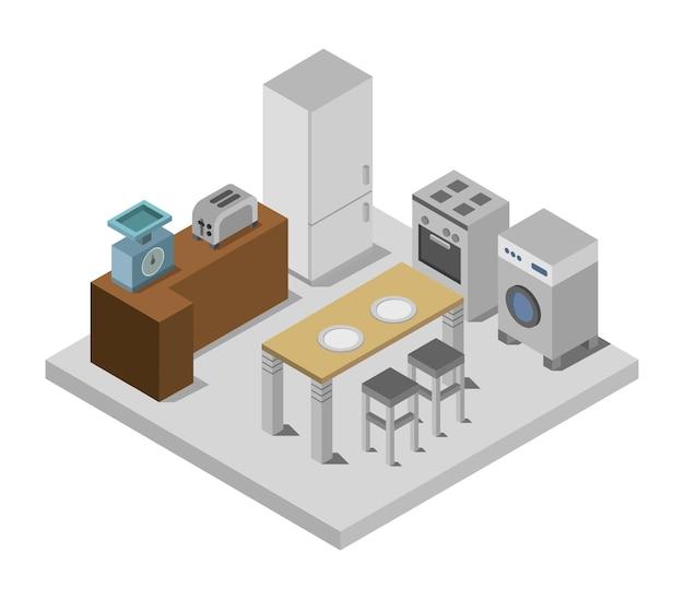 Cucina isometrica Vettore Premium