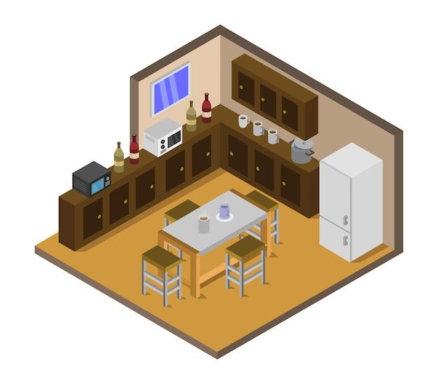 Cucina isometrica Vettore gratuito