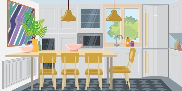 Cucina moderna e accogliente in combinazione con la sala da pranzo Vettore gratuito