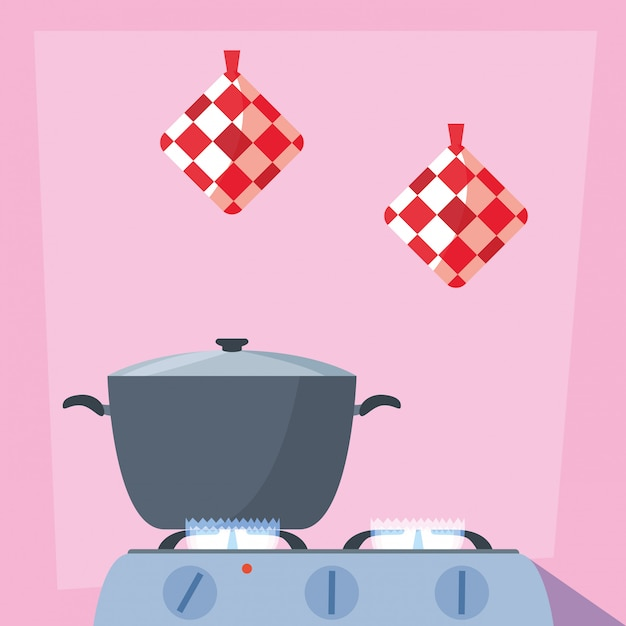 Cucinare con pentola della cucina in stufa Vettore Premium