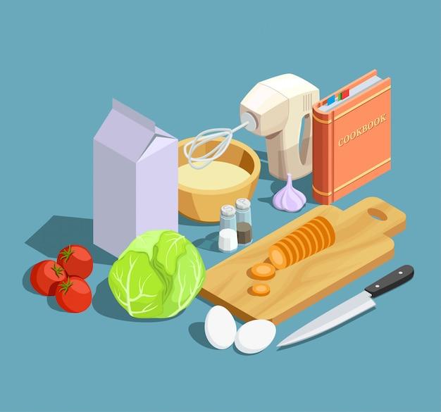 Cucinare insieme di elementi isometrici Vettore gratuito