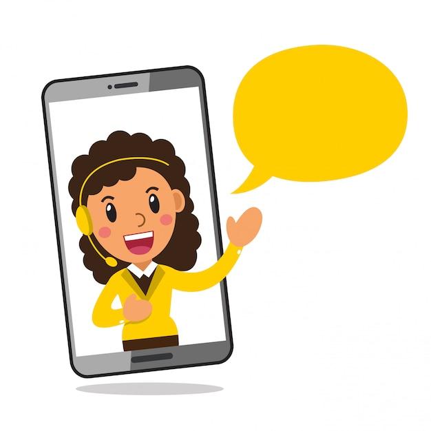 Cuffia avricolare da portare della donna di servizio di call center del carattere sullo schermo dello smartphone Vettore Premium