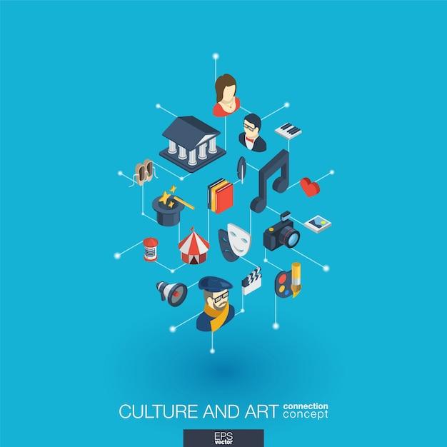 Cultura, icone web integrate nell'arte. concetto di interazione isometrica rete digitale. sistema grafico di punti e linee collegato. sfondo per artista teatrale, musica, conto spettacolo circense Vettore Premium