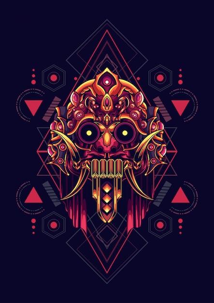 Cultura maschera geometria sacra Vettore Premium