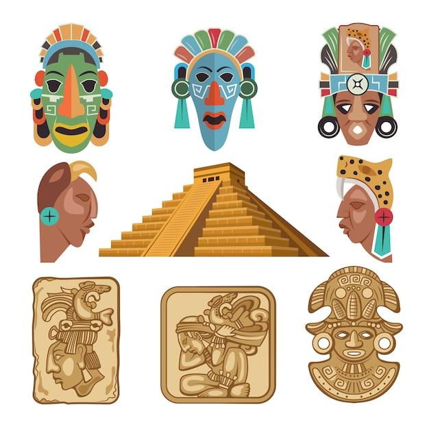 Cultura simbolica dei maya, idoli di religione Vettore Premium