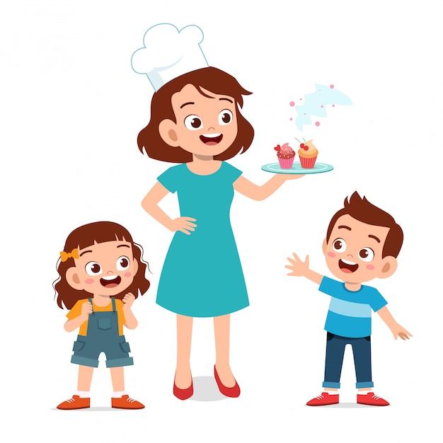 Cuoca madre con bambini Vettore Premium