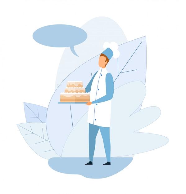 Cuocere in uniforme tenendo grande cartoon glassato torta Vettore Premium