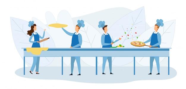 Cuochi team preparing pizza together illustration Vettore Premium