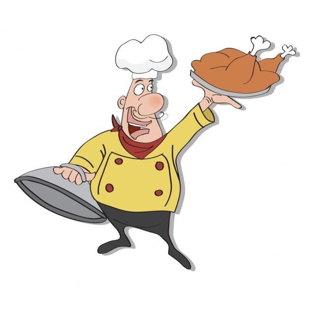 Cuoco divertente cartone animato con vassoio di cibo in