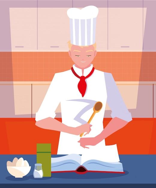 Cuoco professionista che cucina nella scena della cucina Vettore Premium