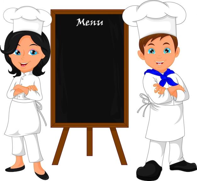 Cuoco unico con la scheda del menu di legno in bianco Vettore Premium