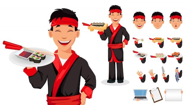 Cuoco unico giapponese che cucina i rotoli di sushi Vettore Premium