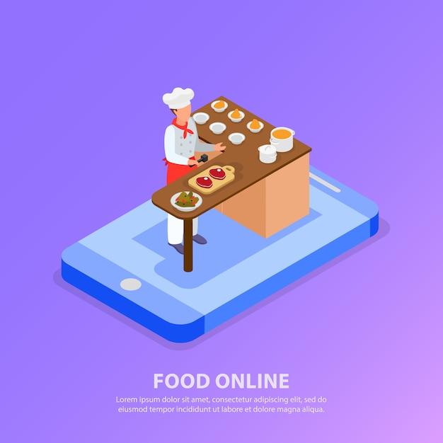Cuoco unico isometrico che cucina l'illustrazione italiana di vettore di concetto 3d del telefono e dell'alimento Vettore gratuito