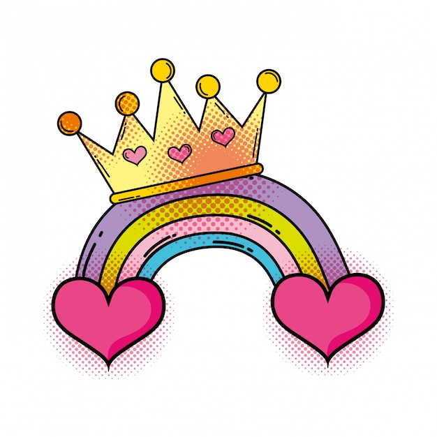 Cuore con arcobaleno in stile pop art Vettore Premium