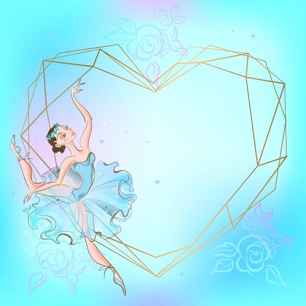 Cuore cornice con ballerina Vettore Premium