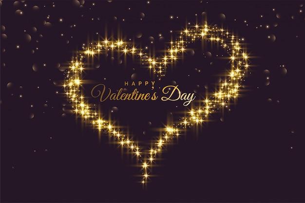 Cuore creativo fatto con sfondo di giorno di san valentino scintillii Vettore gratuito