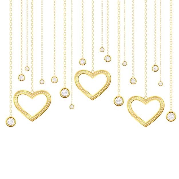 Cuore d'oro e brillanti Vettore Premium