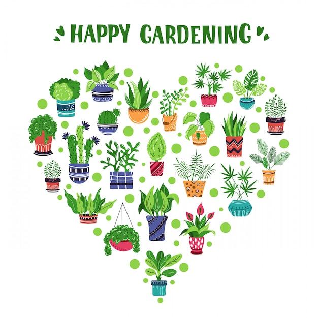 Cuore di piante in vaso o fiori e lettere Vettore Premium