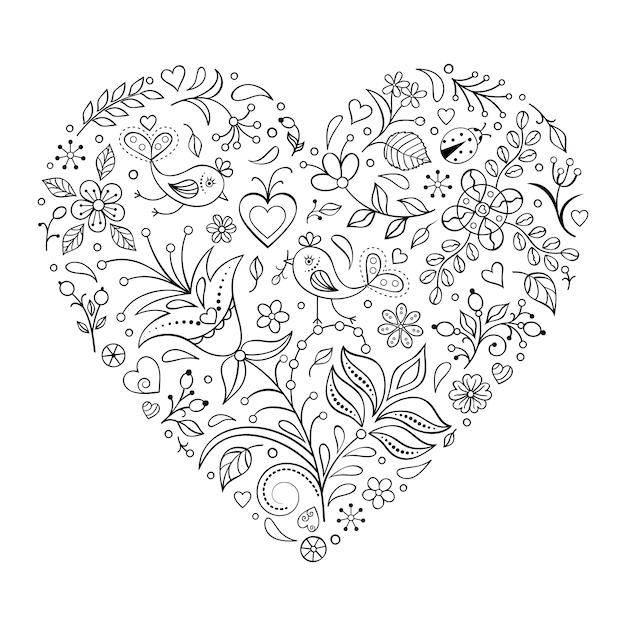 Cuore di san valentino floreale isolato su sfondo bianco Vettore Premium