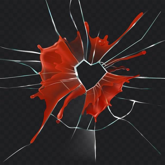 Cuore di vetro rotto sanguinoso concetto vettoriale realistico Vettore gratuito