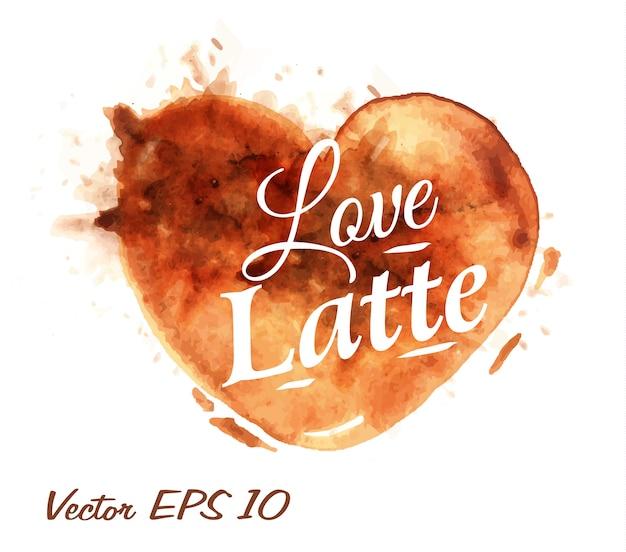 Cuore disegnato versare caffè latte Vettore Premium
