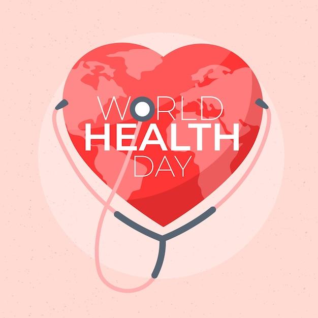 Cuore giornata mondiale della salute sfondo Vettore gratuito
