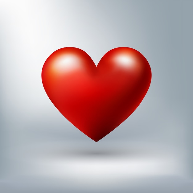 Cuore Rosso Lucido Isolato Su Sfondo Bianco Per San Valentino