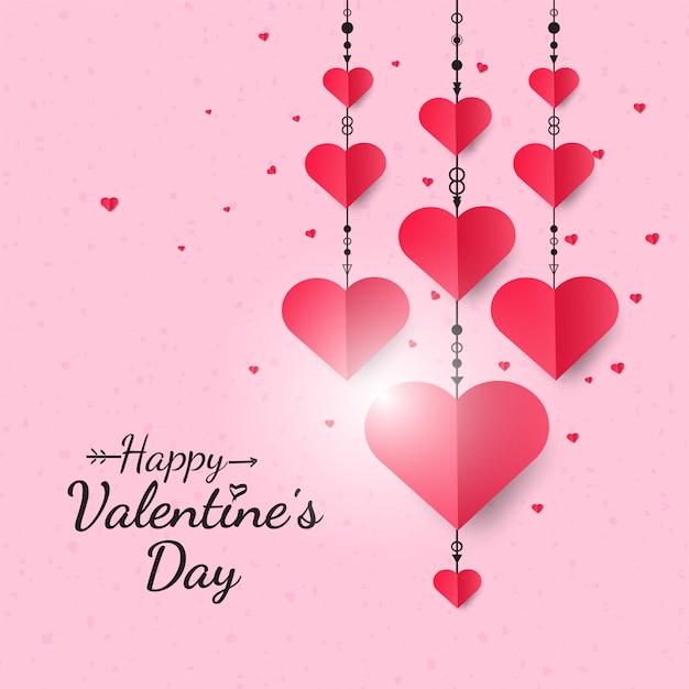 Cuori che appendono il fondo felice di san valentino Vettore Premium