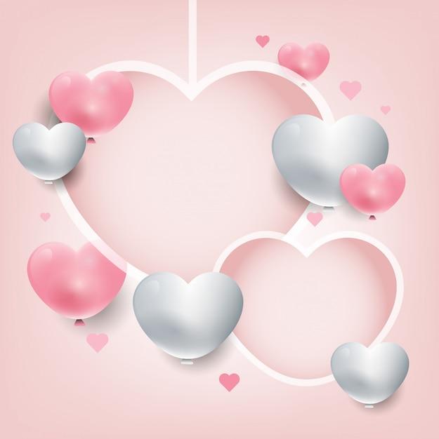 Cuori d'attaccatura del fondo del giorno di san valentino. cuori 3d rosa e bianchi. banner di promozione dolce Vettore Premium