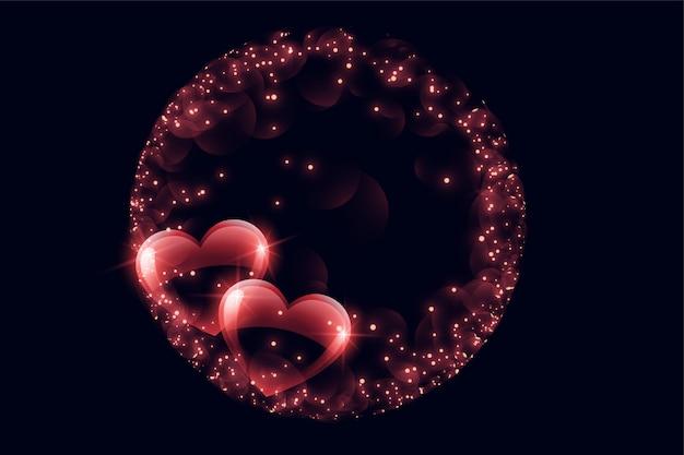 Cuori di bolla lucidi creativi con cornice scintilla Vettore gratuito