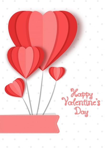 Cuori di carta amore formando un paracadute, happy valentines day card design. Vettore Premium
