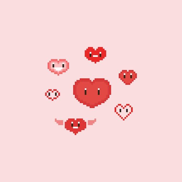 Cuori di pixel simpatico cartone animato Vettore Premium
