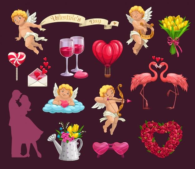 Cuori di san valentino, fiori e coppia di innamorati Vettore Premium