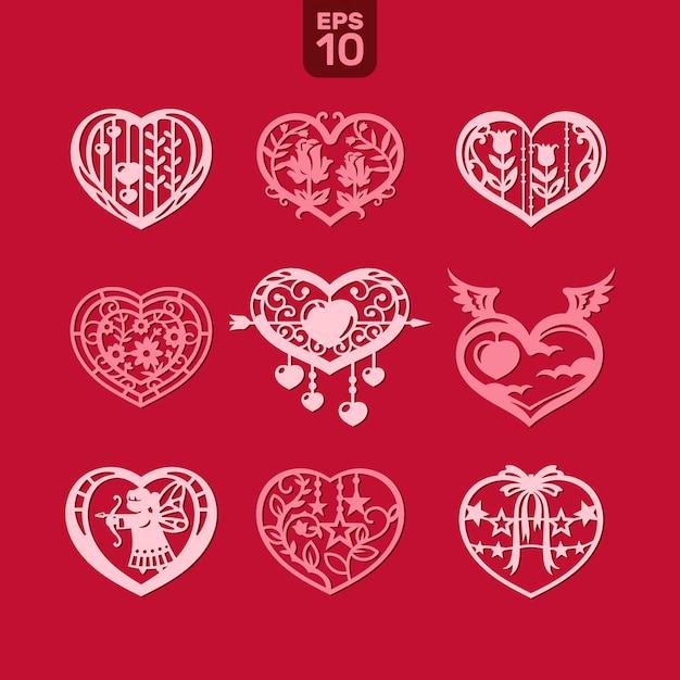Cuori vettoriali impostato per matrimonio e san valentino Vettore Premium