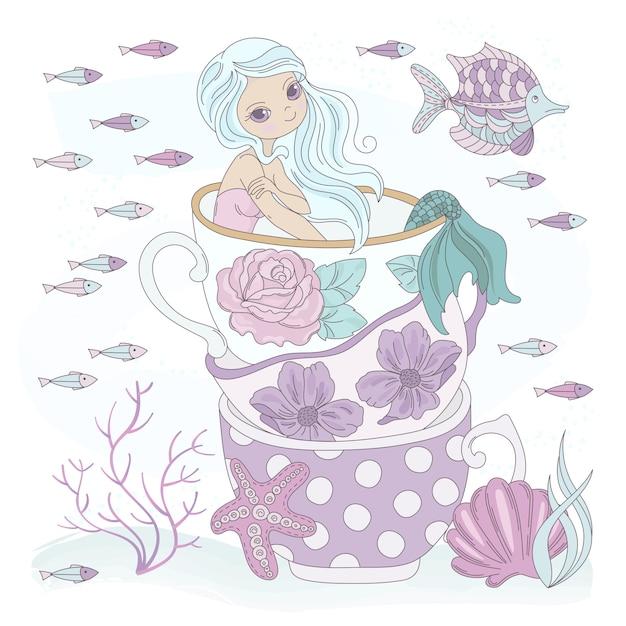 Cup mermaid ocean princess vacation Vettore Premium