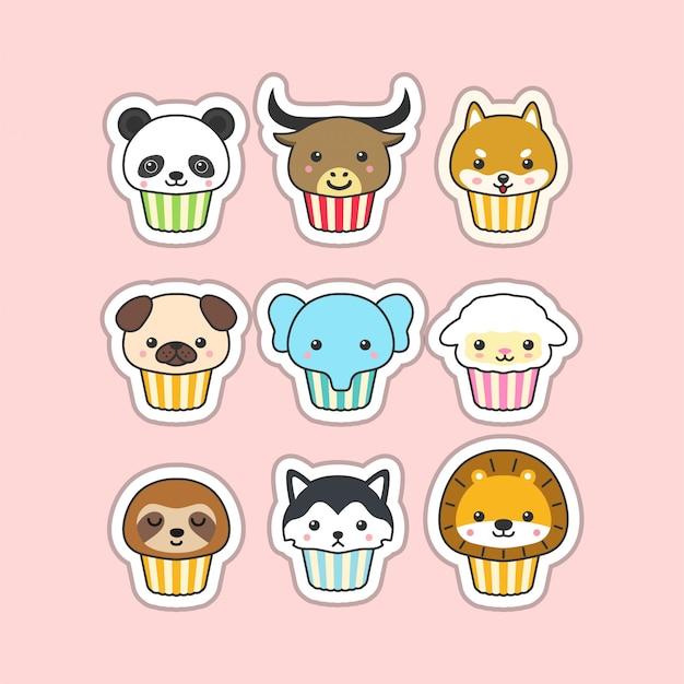 Cupcake carino Vettore Premium