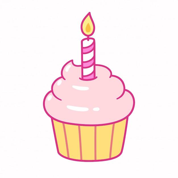 Cupcake con candela di compleanno Vettore Premium